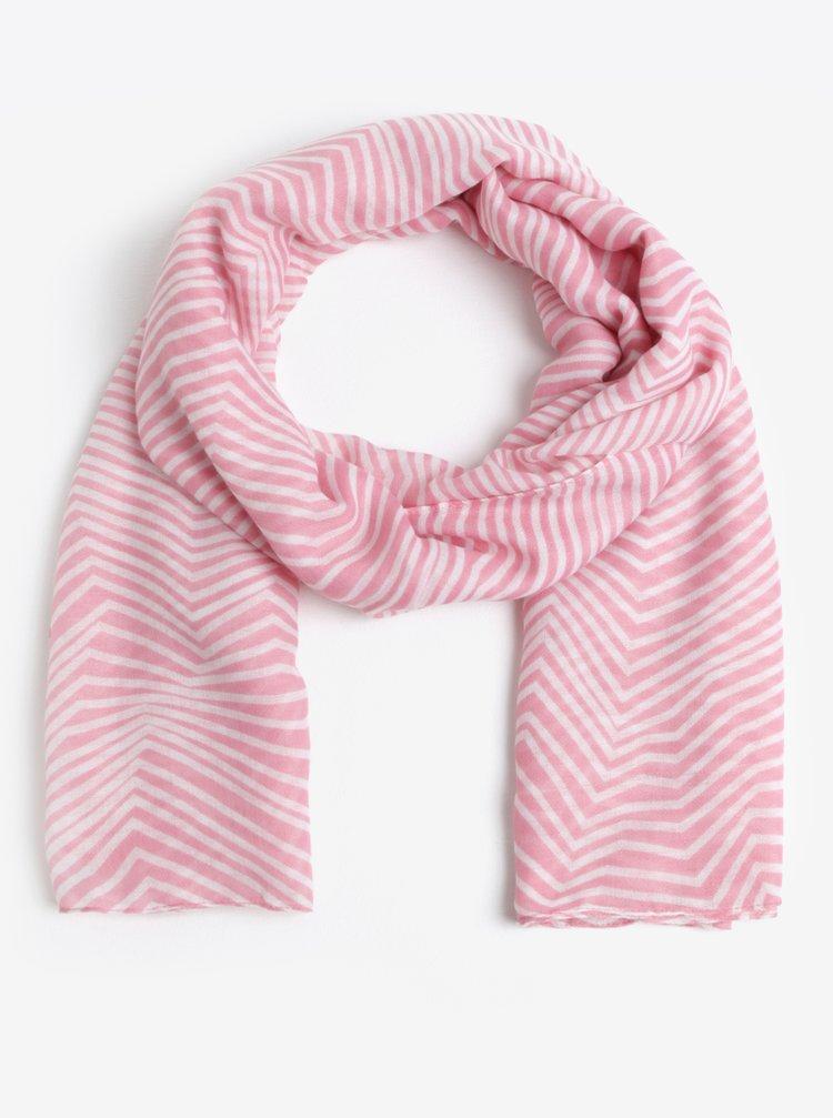 Krémovo-růžový vzorovaný šátek Pieces Guinevere