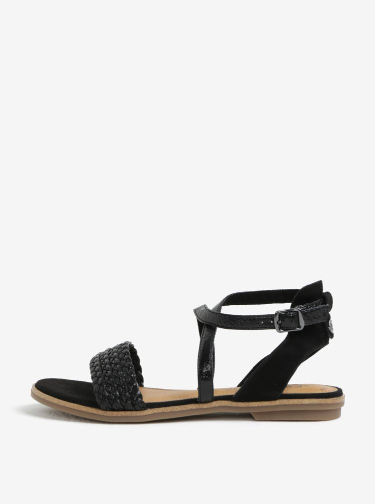 Sandale negre din piele cu aspect lucios pentru femei - s.Oliver