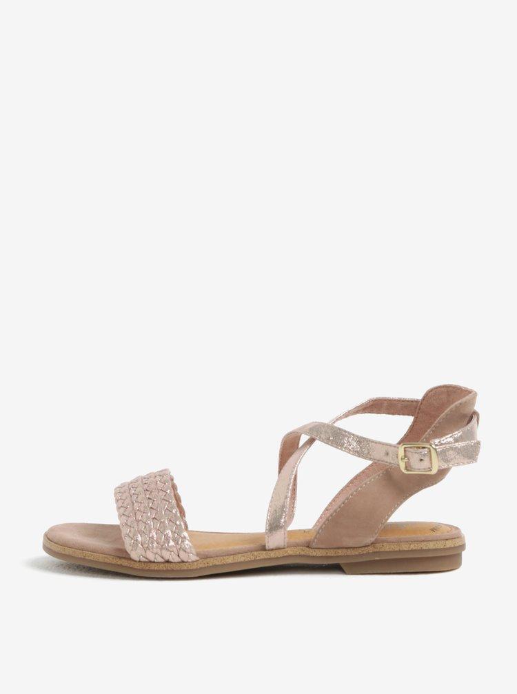 Staroružové dámske kožené lesklé sandále s.Oliver