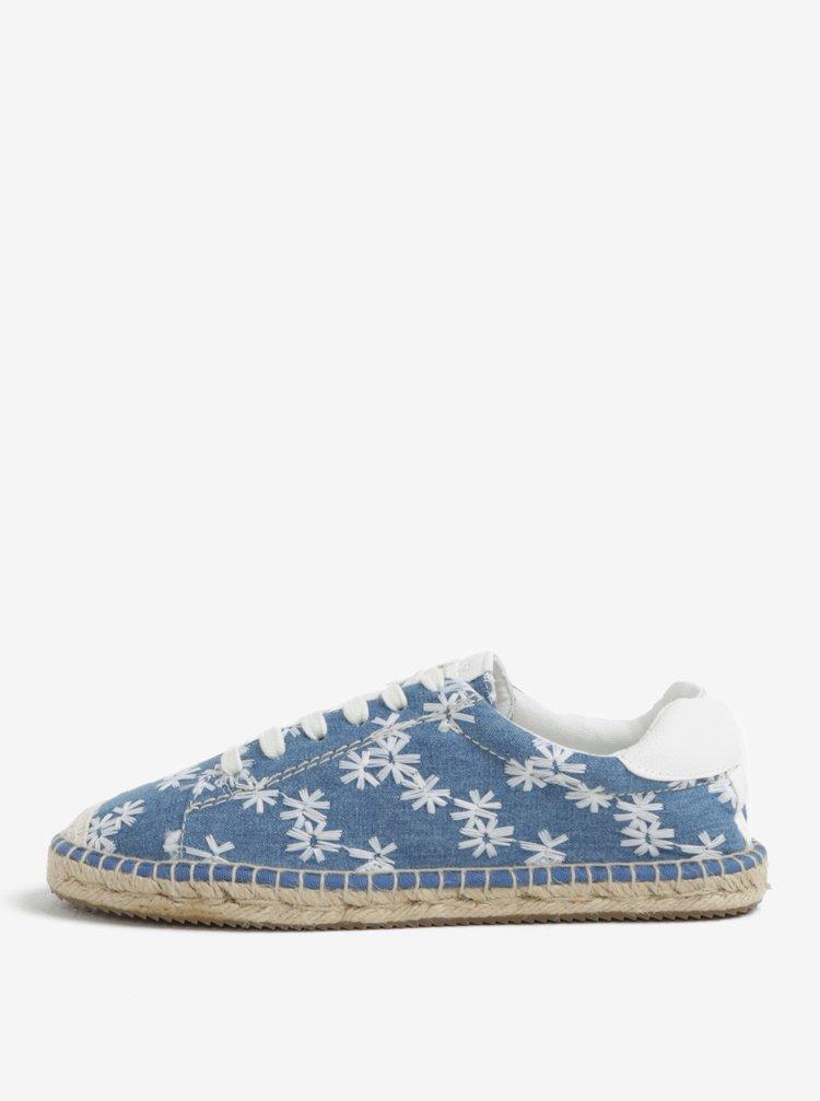 Modré dámské květované džínové espadrilky s.Oliver