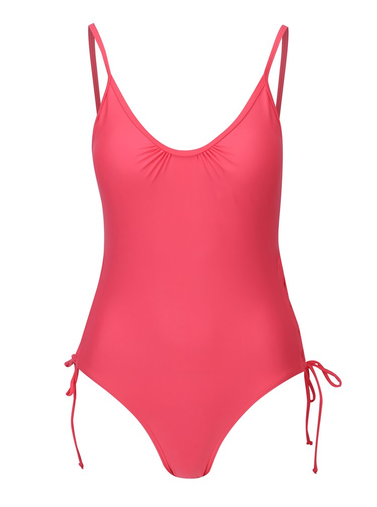 Costum de baie intreg roz cu sireturi laterale  Pieces Ibbi