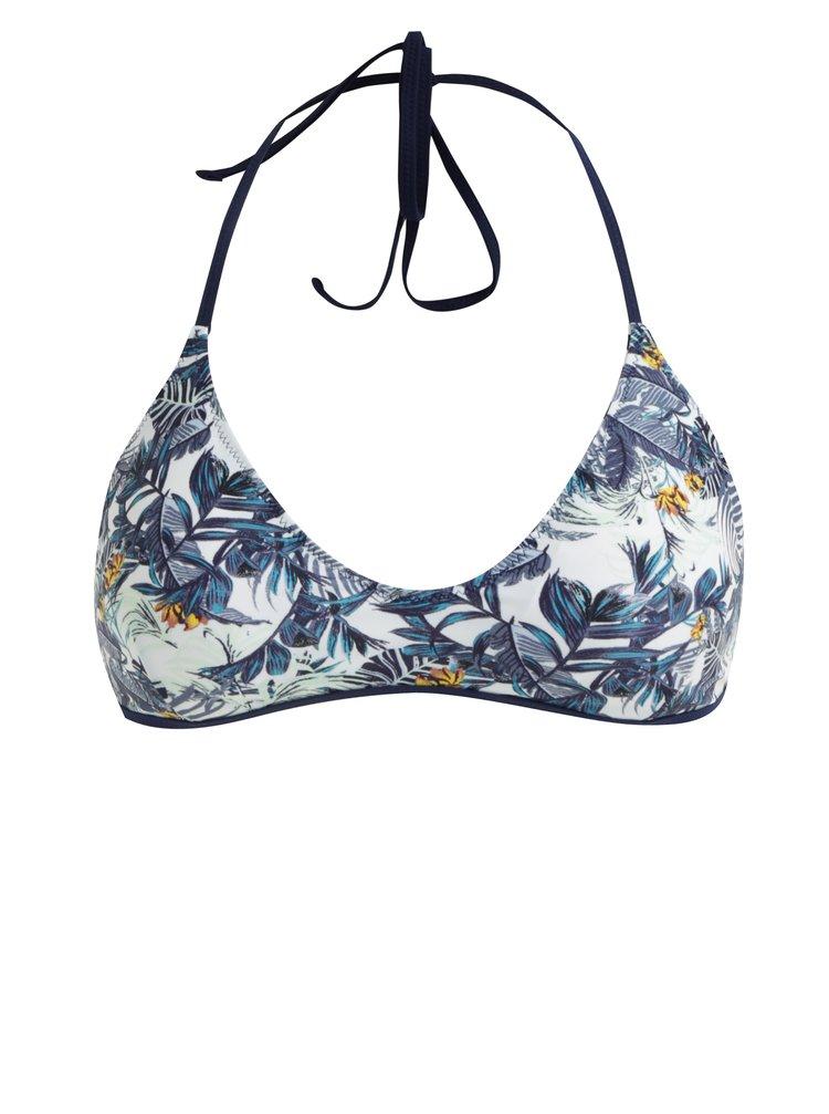 Bílo-modrý květovaný oboustranný horní díl plavek Pieces Isabella