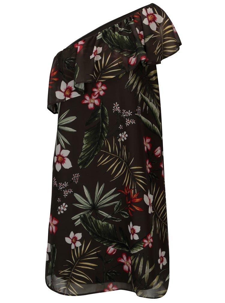 Tmavě zelené květované šaty na jedno rameno ONLY Maya
