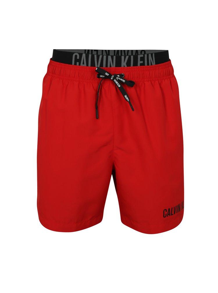 Pantaloni scurti de baie rosii cu logo in talie -  Calvin Klein Underwear