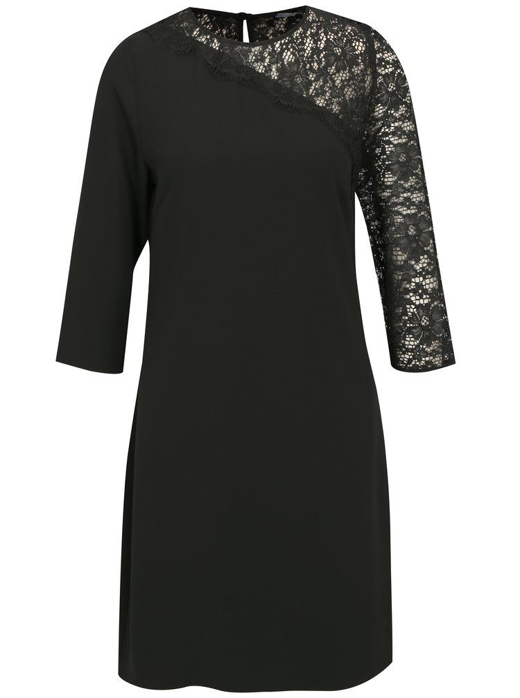 Černé šaty s 3/4 rukávem a krajkou Dorothy Perkins