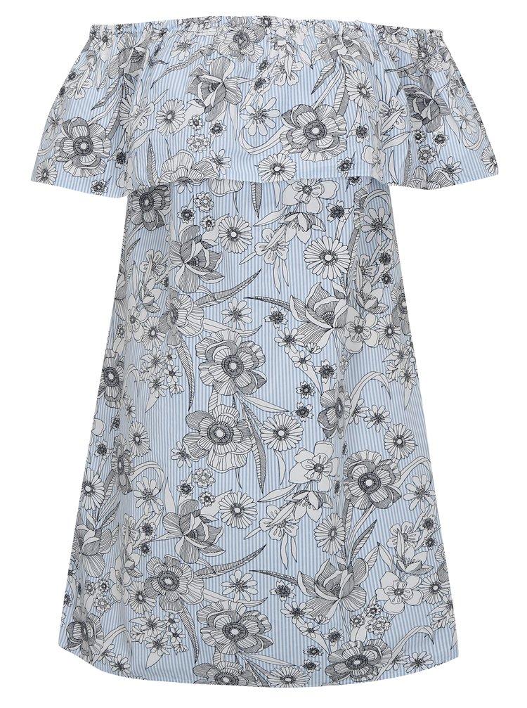 Rochie alb cu albastru cu print si decolteu pe umeri Dorothy Perkins