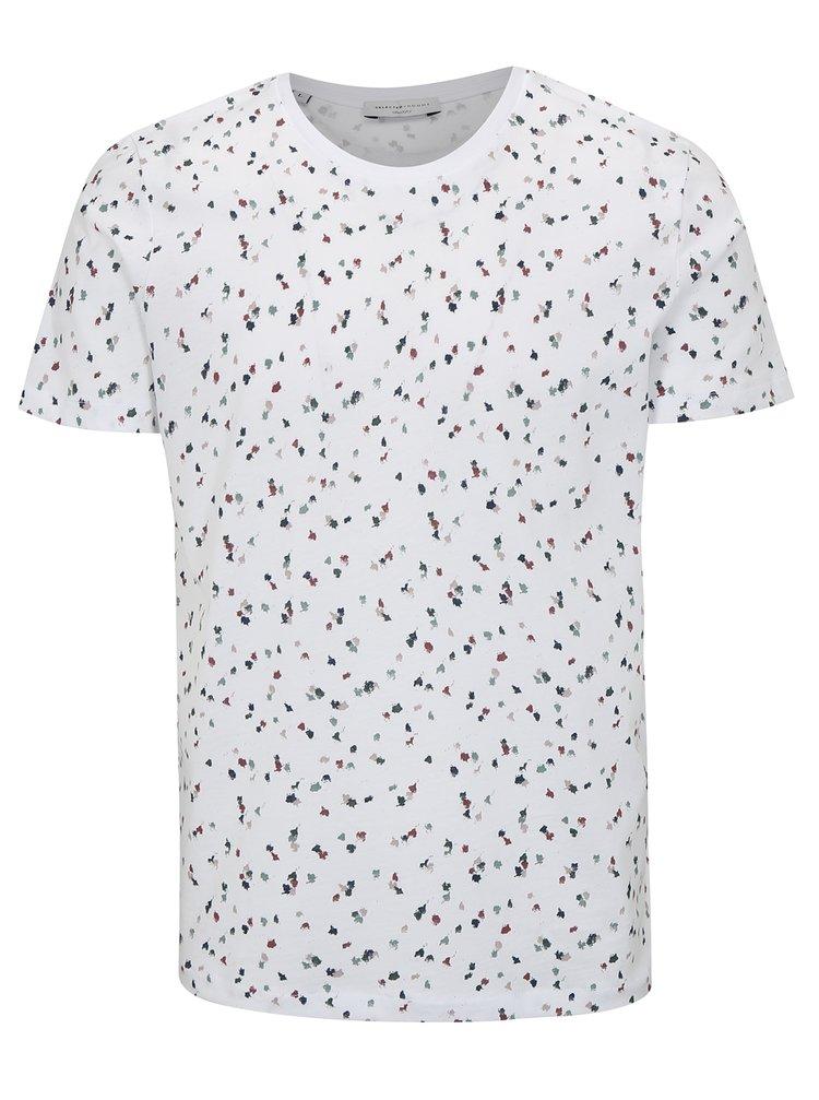 Bílé vzorované tričko Selected Homme Sum