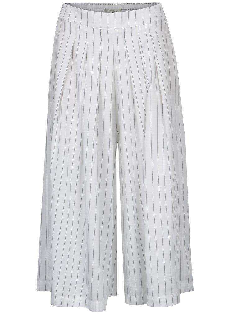 Biele pruhované culottes Selected Femme Raika
