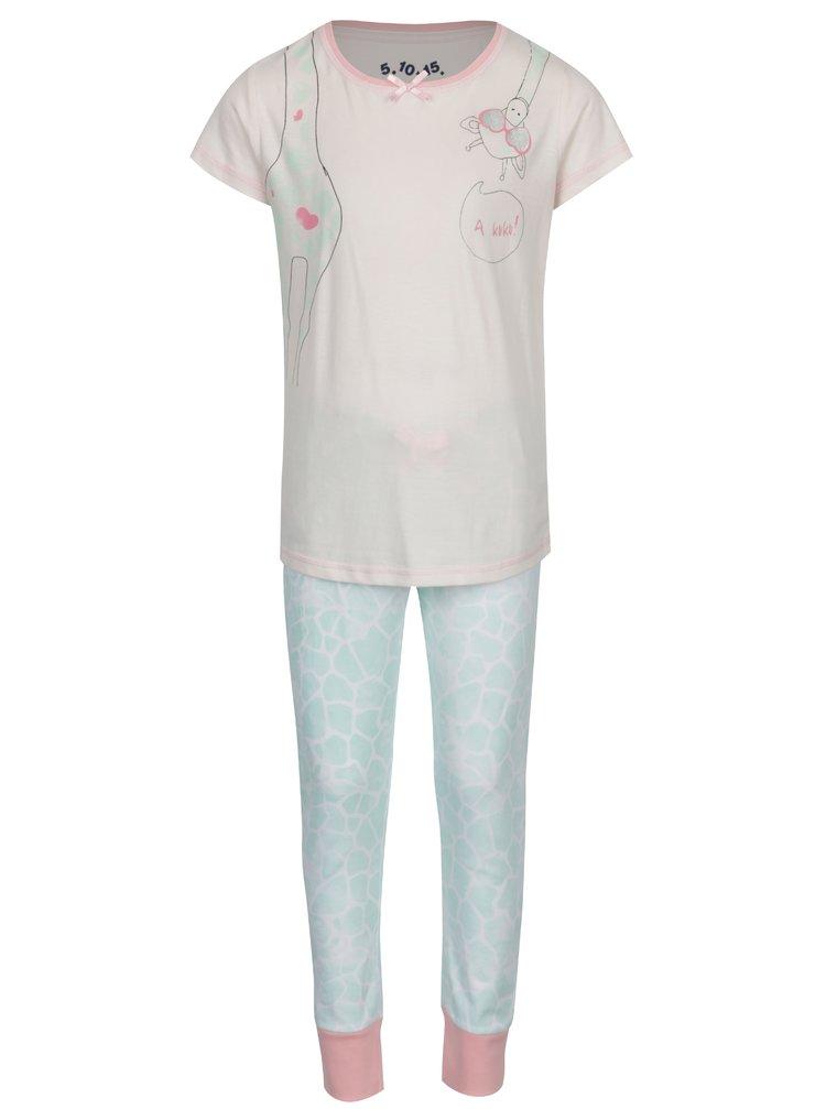 Zeleno-růžové holčičí dvoudílné pyžamo s potiskem 5.10.15.