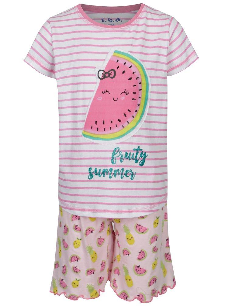 Bielo-ružové pruhované dvojdielne dievčenské pyžamo s potlačou 5.10.15.