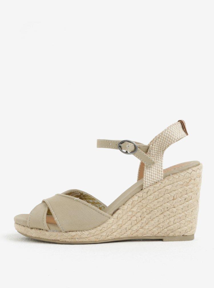 42f083d2ab2 Béžové dámske sandále na klinovom podpätku Pepe Jeans Shark Basic ...