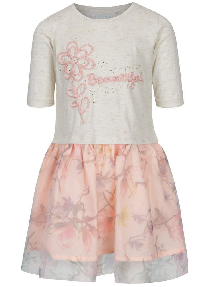 Ružové krémové dievčenské šaty s výšivkou 5.10.15.