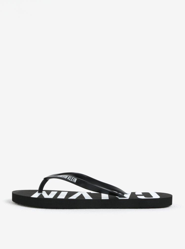 Papuci de dama flip-flop negri cu print Calvin Klein Underwear