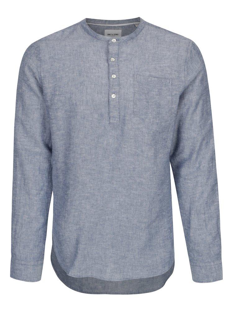 Camasa cu guler tunica din amestec de in albastru - ONLY & SONS Caiden