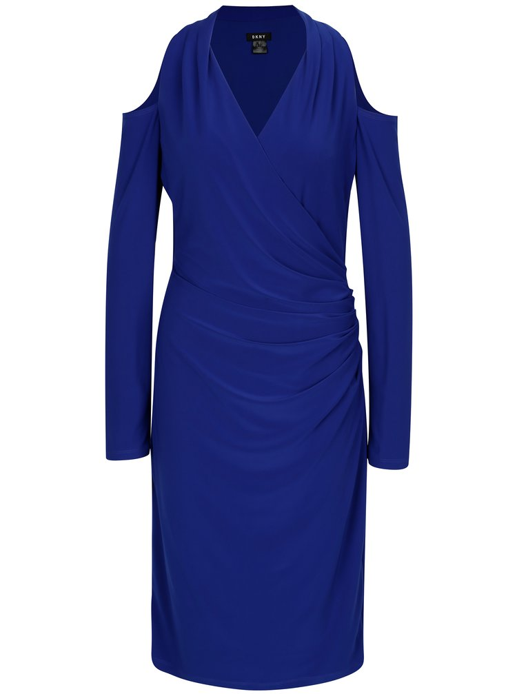 Modré šaty s odhalenými ramenami DKNY
