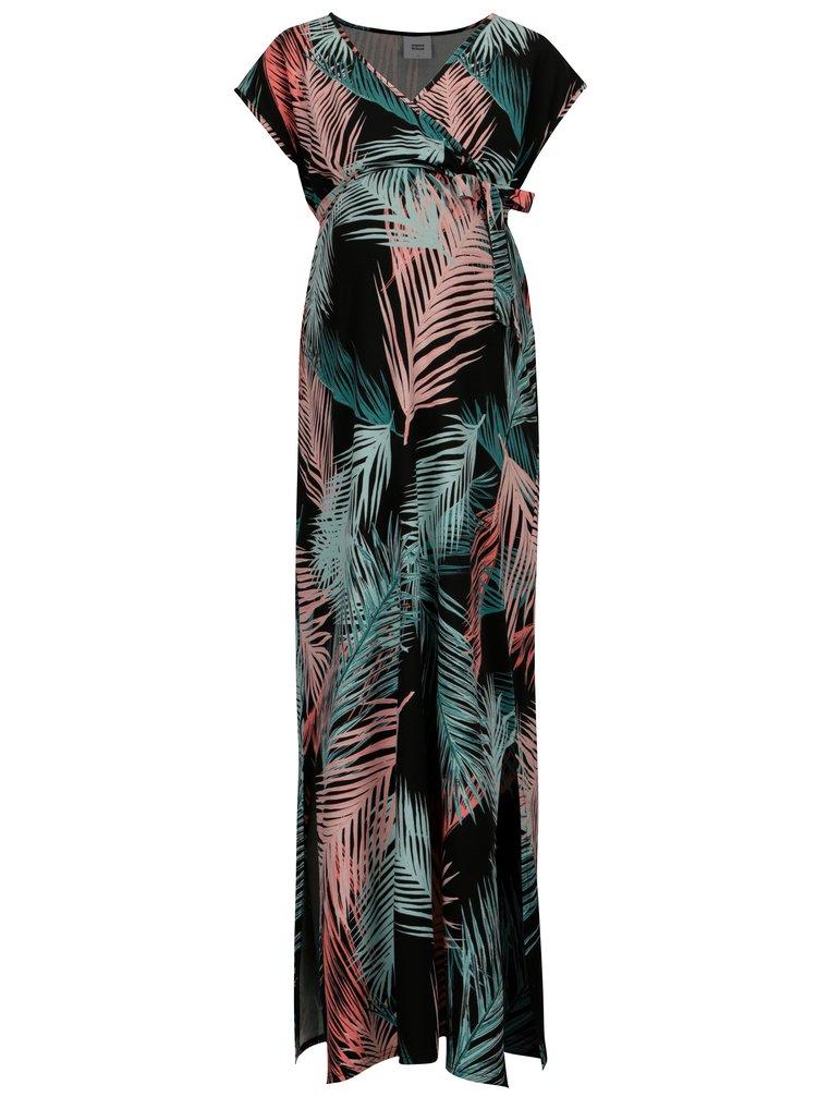 Rochie maxi neagra cu print pentru femei insarcinate - Mama.licious Palms