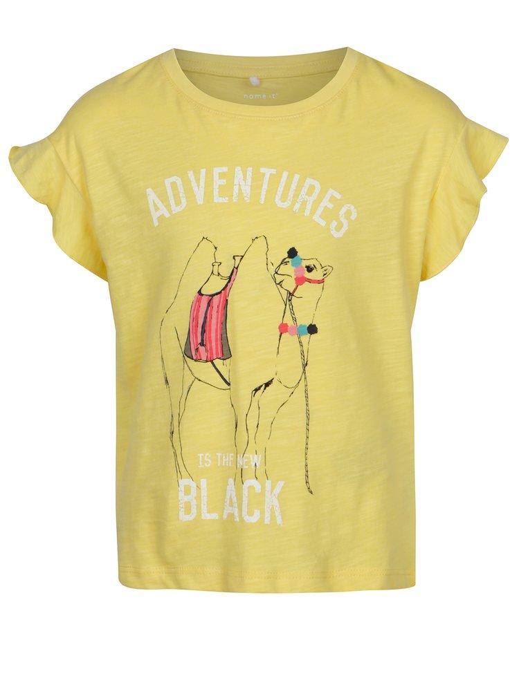 Žluté holčičí tričko s potiskem velblouda name it Katly