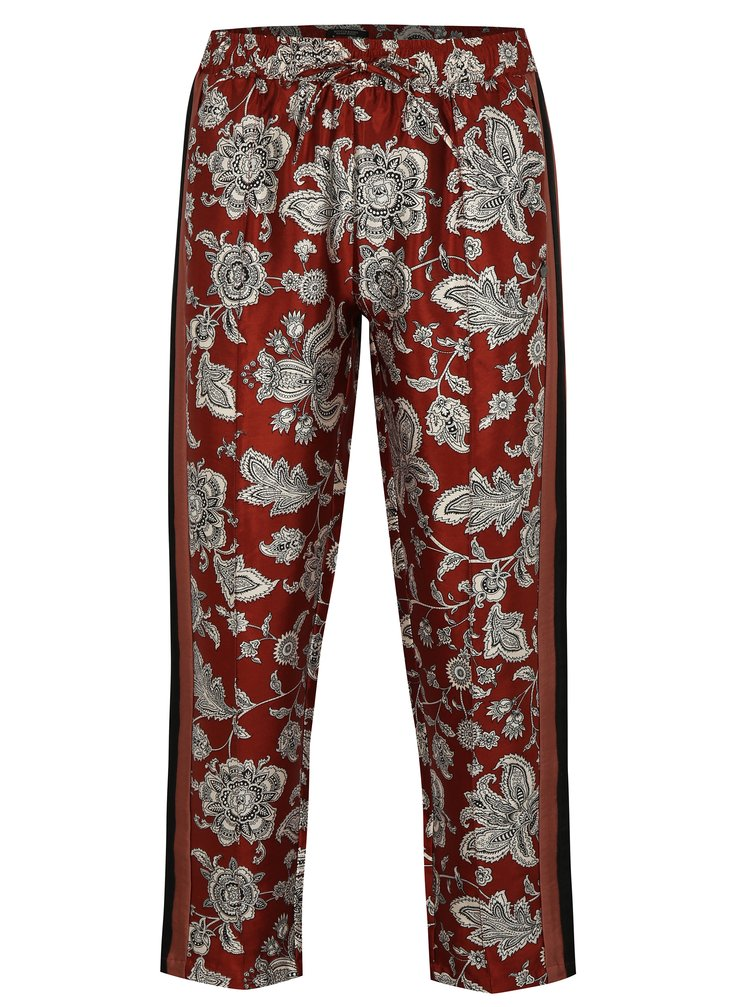 Červené zkrácené vzorované kalhoty s elastickým pasem Scotch & Soda