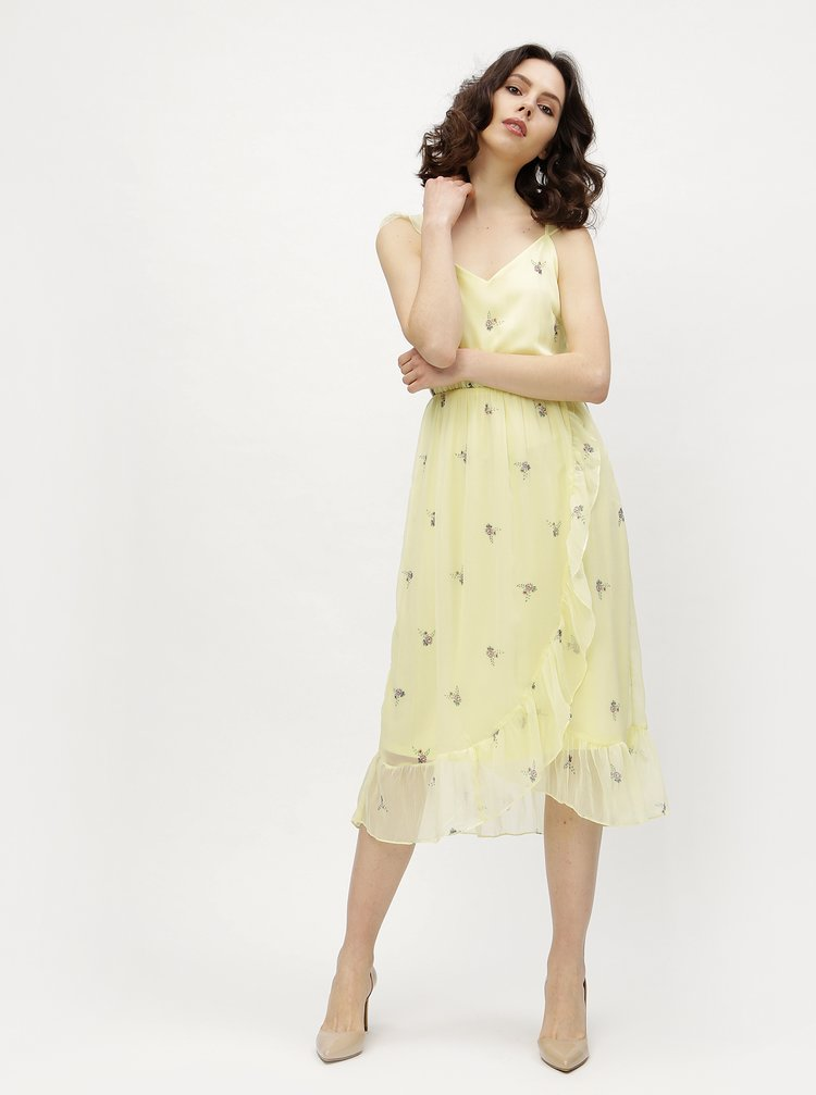 Rochie galbena cu volane asimetrice si print floral - VERO MODA Danni
