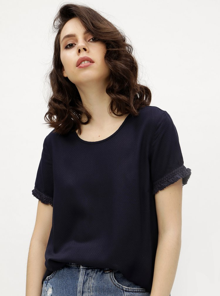 Tricou bleumarin cu model discret si franjuri - VERO MODA Mynte