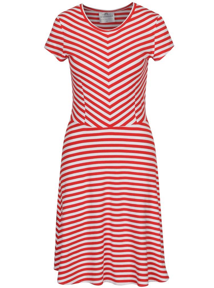 Bílo-červené pruhované šaty SEVERANKA