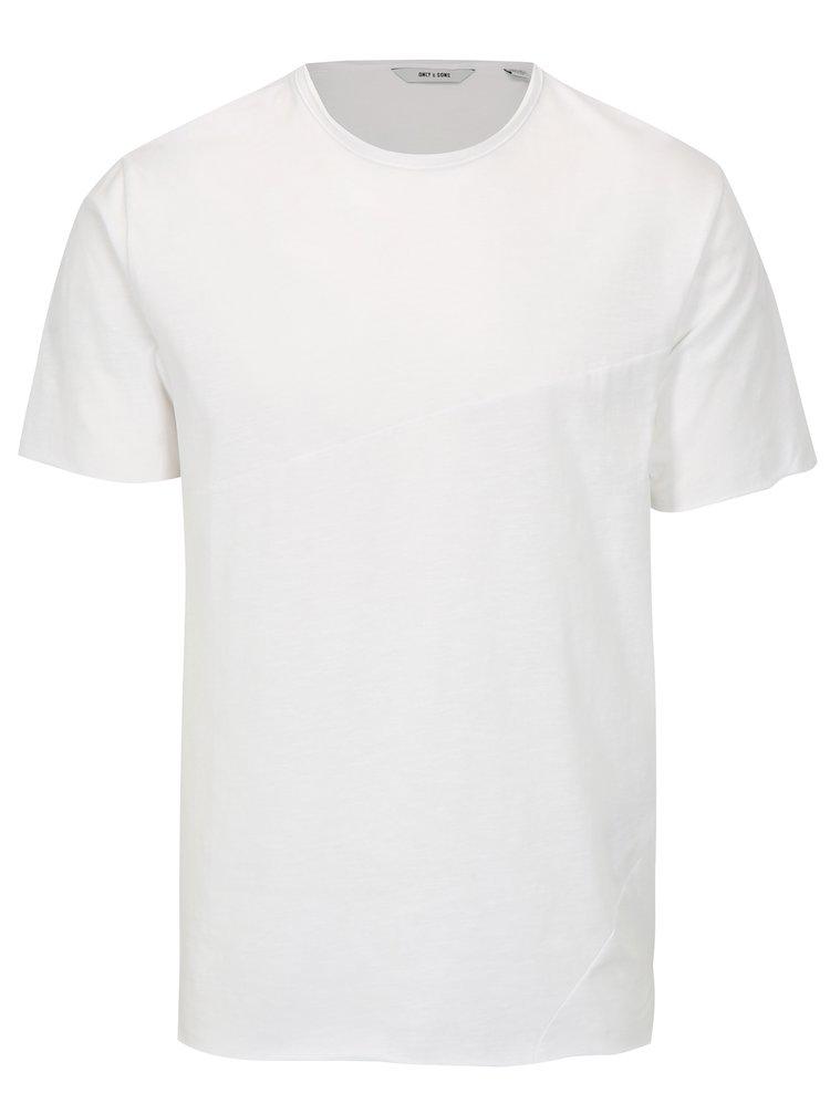Tricou alb cu cusatura asimetrica ONLY & SONS Stewie