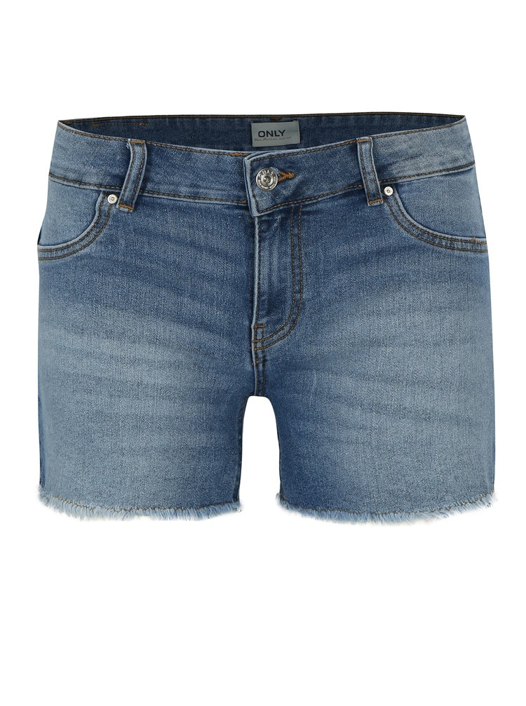 Pantaloni scurti albastri din denim cu franjuri ONLY Dylan