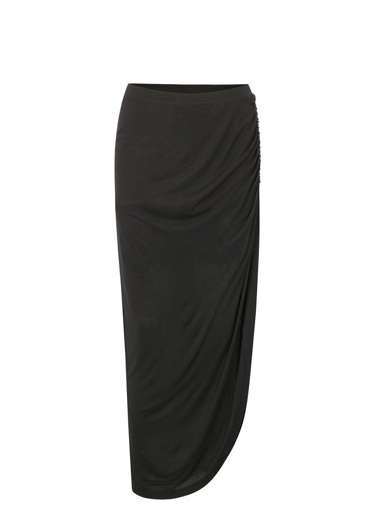Fusta neagra asimetrica cu drapaje - ONLY Ria
