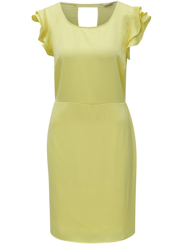 Žluté šaty s volány a průstřihem na zádech VILA Occasion