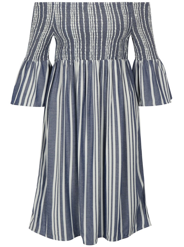 Krémovo-modré pruhované šaty s odhalenými rameny Jacqueline de Yong Celest