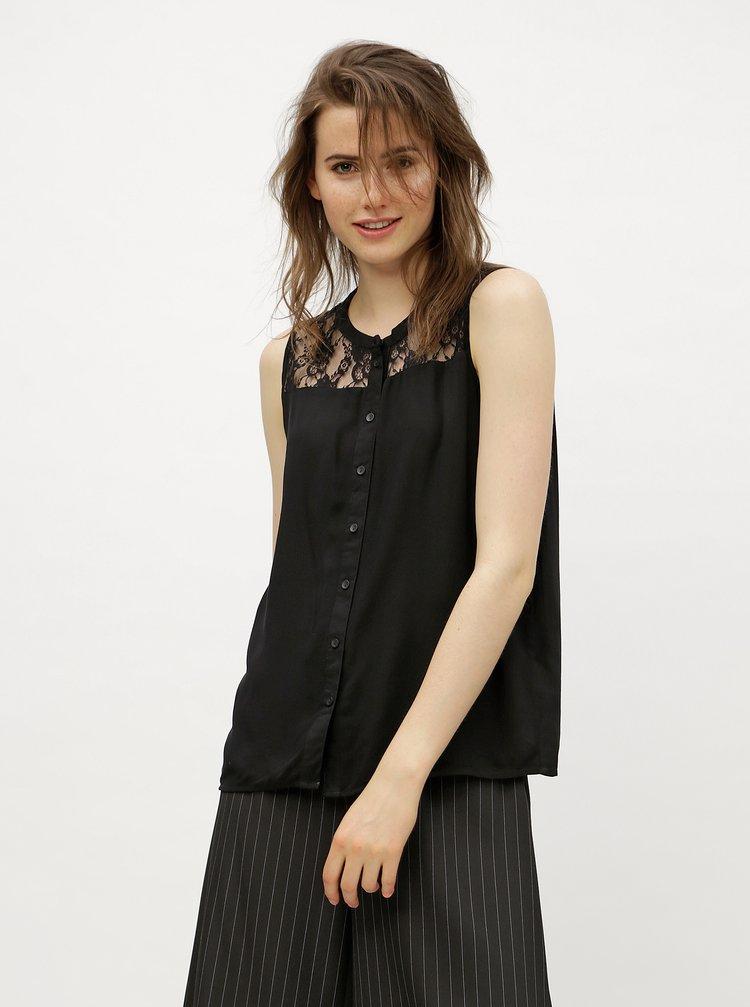 Bluza neagra cu umeri din dantela VERO MODA Abby