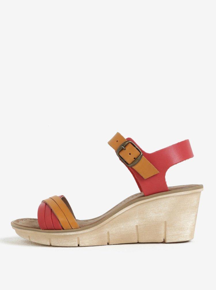 Hnědo-červené dámské kožené sandálky na klínku Weinbrenner