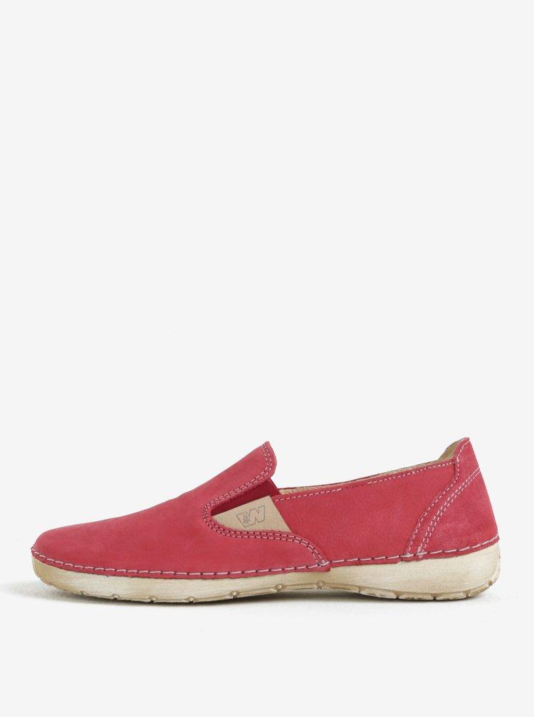 Pantofi slip on roz de dama din piele Weinbrenner