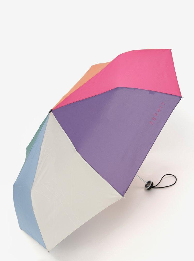 Růžovo-modrý skládací deštník Esprit ALU