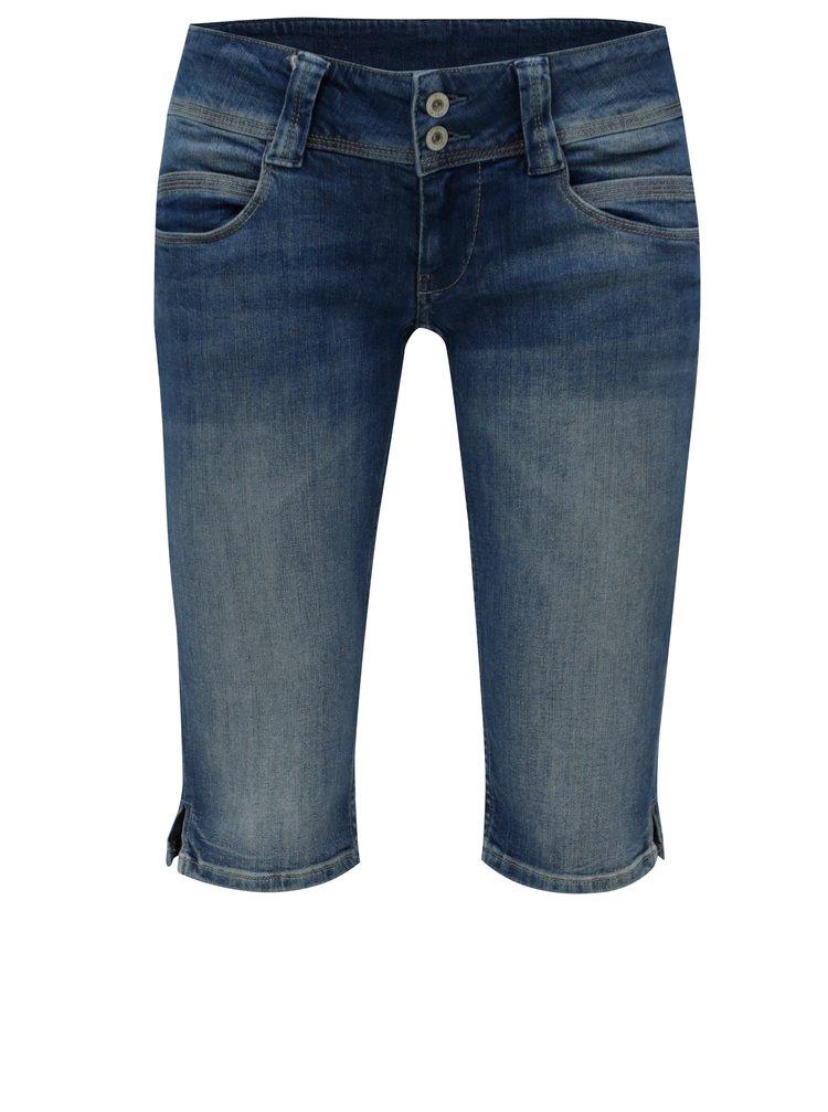 Tmavomodré dámske rifľové straight kraťasy s nízkym pásom Pepe Jeans Venus crop