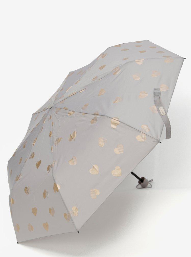 Šedý vzorovaný skládací deštník Esprti Super Mini Flower & Birds