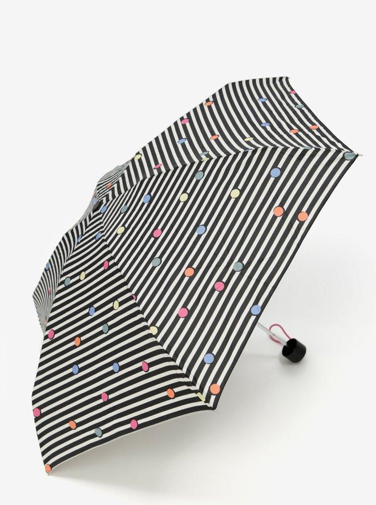 Umbrela pliabila in dungi crem si negre Esprit Dots & Dots