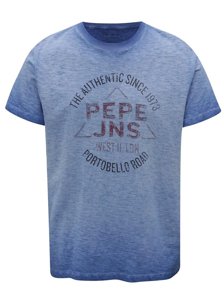 Tricou albastru melanj cu print pentru barbati - Pepe Jeans Scott
