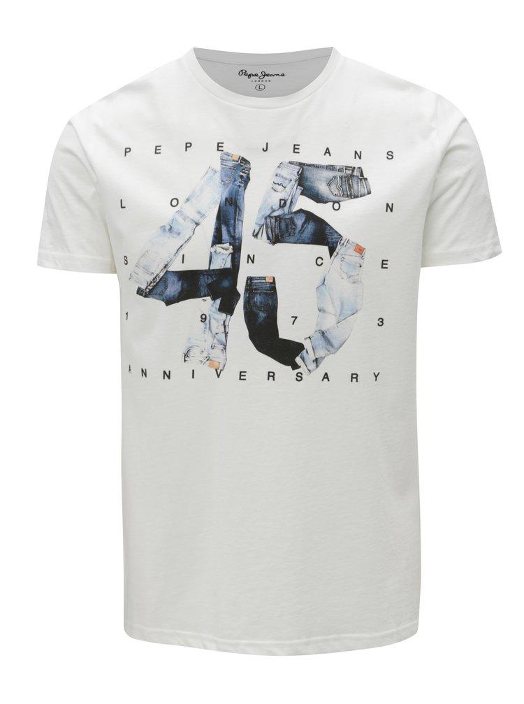 Tricou alb cu print pentru barbati -  Pepe Jeans Anniversary men