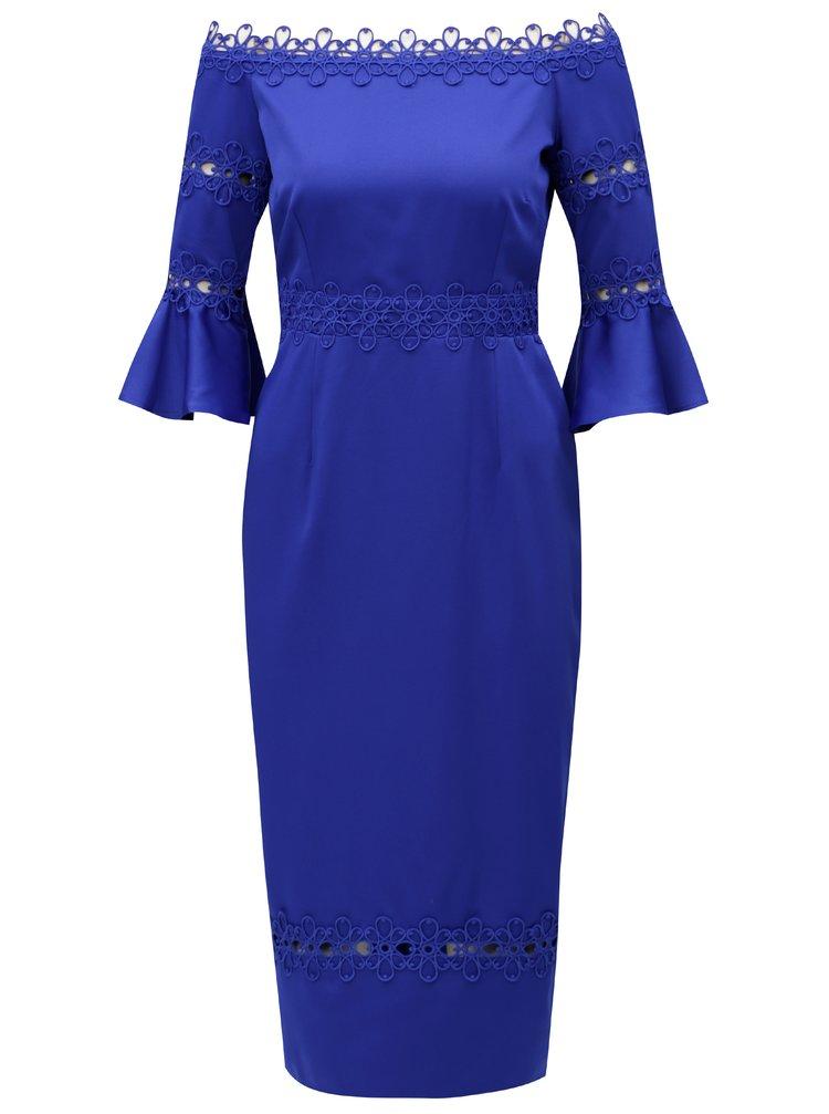Modré šaty s odhalenými rameny Little Mistress