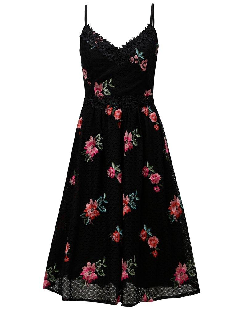 Čierne čipkované šaty s výšivvkami Little Mistress