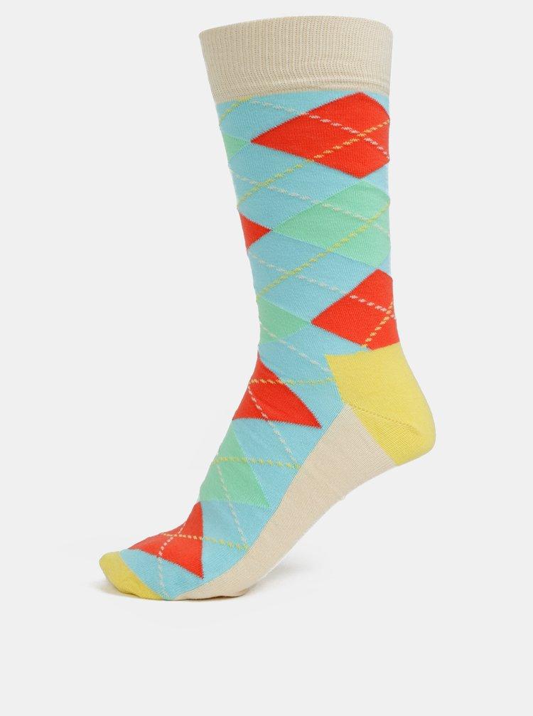 Modro-krémové unisex vzorované ponožky Happy Socks Argyle