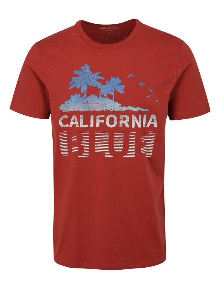 Červené slim fit tričko s potiskem Jack & Jones Shane