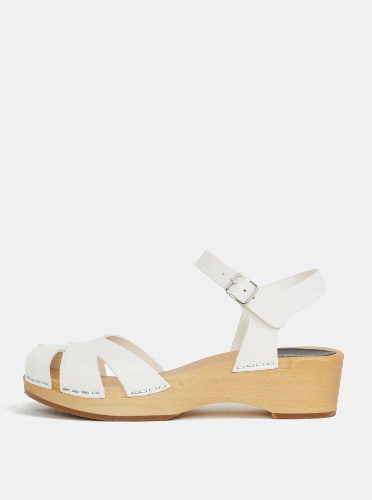 Dřeváky na podpatku s bílými koženými pásky Swedish Hasbeens Suzanne