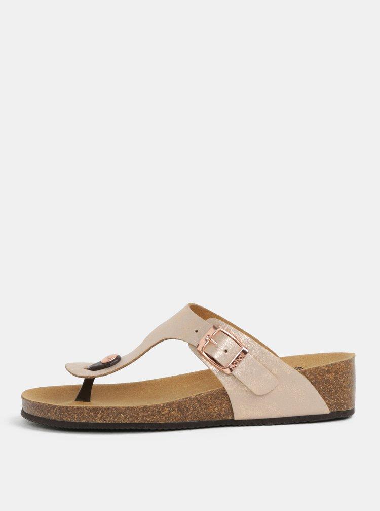 Papuci de dama ortopedici flip-flop roz auriu Scholl Gandia