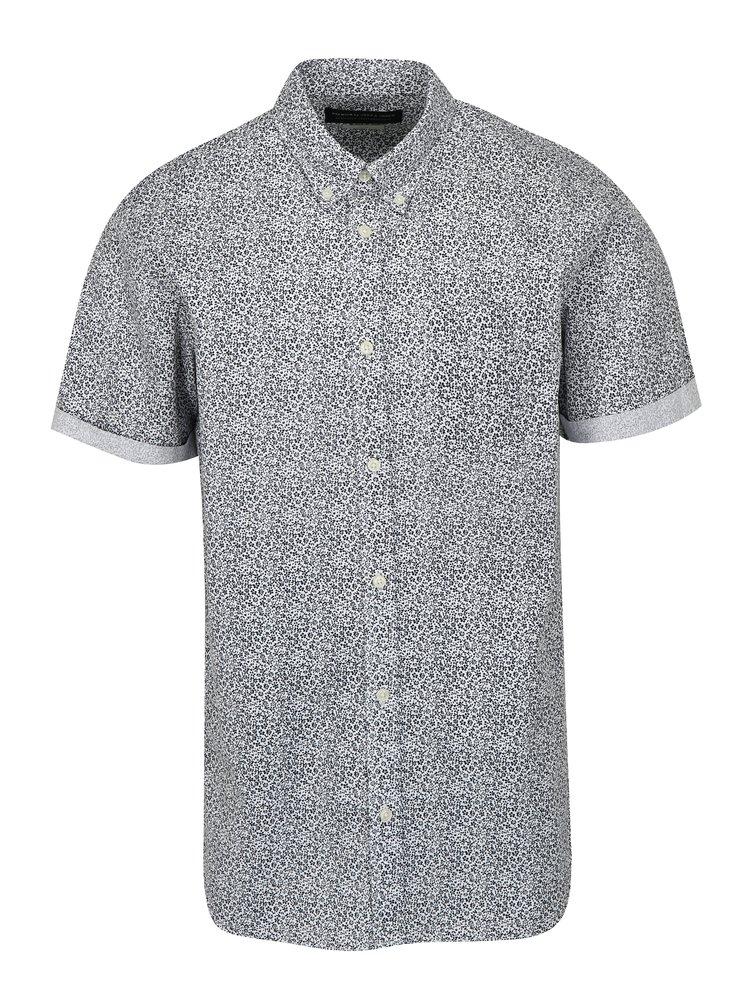 Modro-bílá květovaná slim fit košile Jack & Jones Kevin