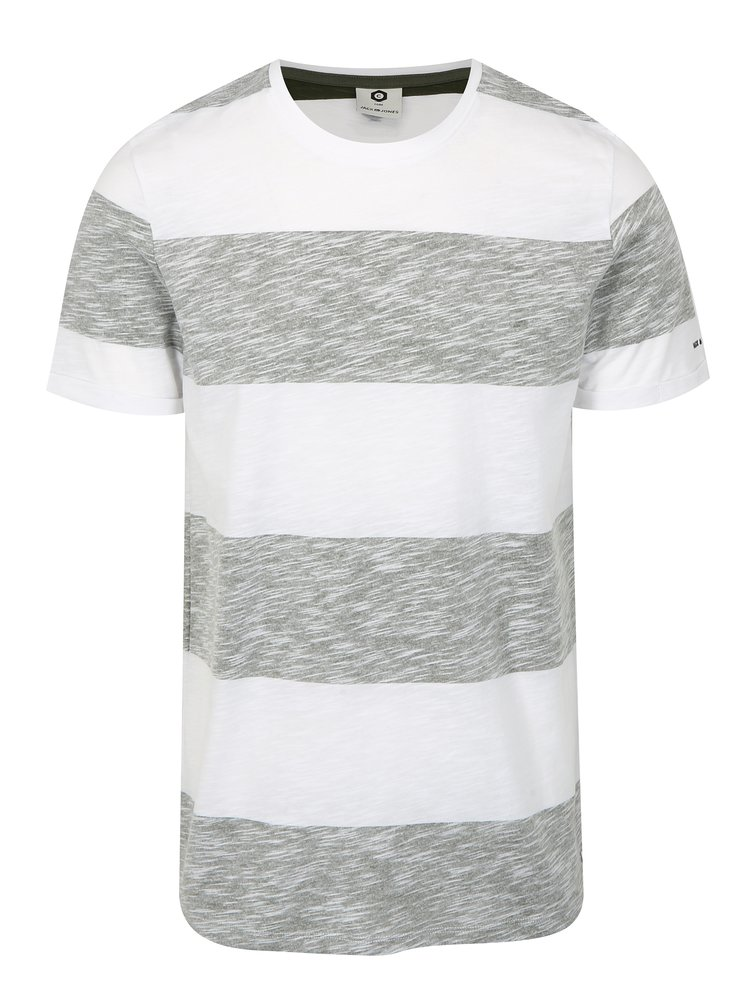 Tricou slim fit gri-alb cu dungi Jack & Jones Stripy
