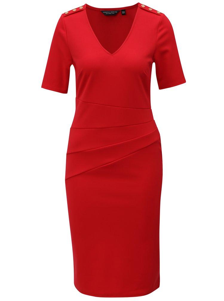 Červené šaty s véčkovým výstřihem Dorothy Perkins