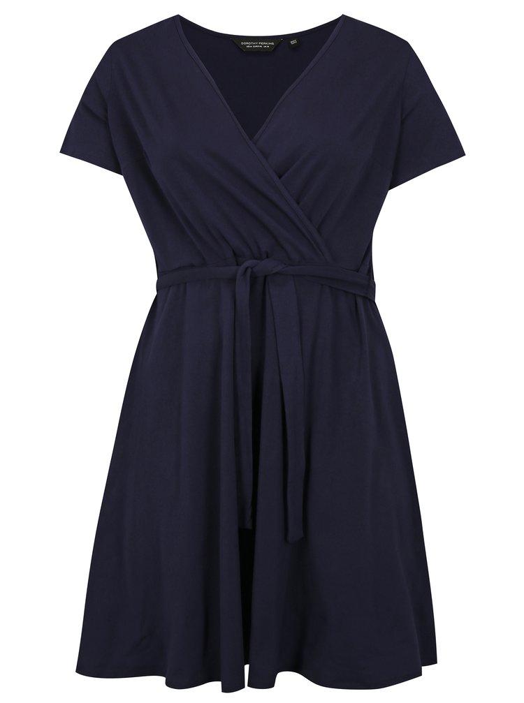 Rochie albastru inchis cu decolteu suprapus Dorothy Perkins Curve