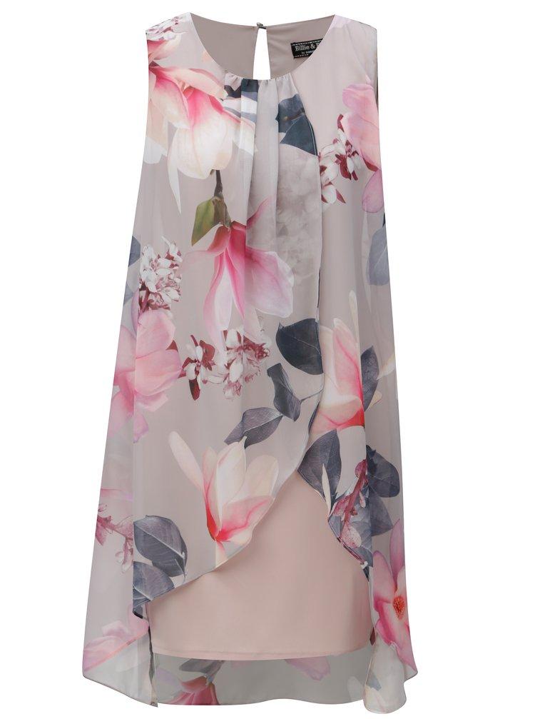 Růžovo-šedé květované šaty Billie & Blossom by Dorothy Perkins